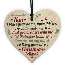 Christmas Memorial Nan Nanny Handmade Wooden Heart Tree Decoration Bauble