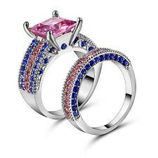 Size 8 Princess Hot sale 10kt white gold filled Pink Topaz Wedding Ring set
