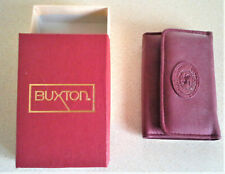 New listing Vintage Buxton Burgundy Leather Velvet Touch Cowhide key holder Nib No Tags