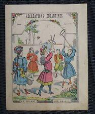 ANCIEN CAHIER D'ECOLE couverture illustrée récréations enfantines  Volant Graces