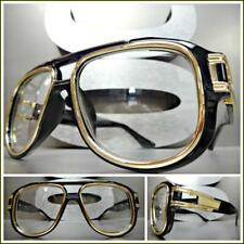 OVERSIZED VINTAGE RETRO Style Clear Lens EYE GLASSES Large Wide Black Gold Frame