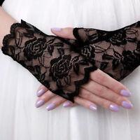 Women Lace Satin Bride Gloves Fingerless Party Bridal Dress Wedding Party FastUS