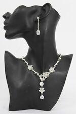 New Women Necklace Dressy Fashion Fancy Silver Metal Flowers Branches + Earrings