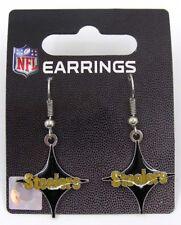 Pittsburgh Steelers NFL Football Dangle Earrings Black Four Pointed Star