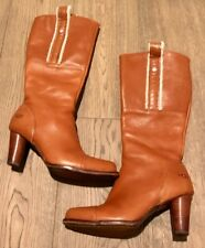 $350 UGG Australia Tess Leather Tall Brown Heels Boots - 8