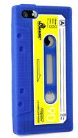 Apple iPhone 5 5s TPU Retro Tape Kassette Handy Case Cover Hülle Tasche Blau TOP