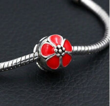 RED CHERRY BLOSSOM FLOWER CLIP STOPPER CHARM BEAD FOR BRACELET OR NECKLACE