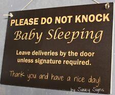 Black Sleeping Baby 2 - Do Not Knock Wooden Warning No Soliciting Sign