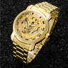 Luxury Men's Gold Tone Stainless Steel Skeleton Automatic Mechanical Wrist Watch