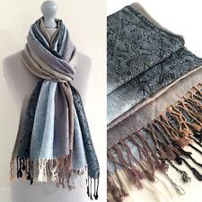 Ladies Blue Paisley Scarf Pashmina Womens Shawl Vintage Long Reversible Cotton