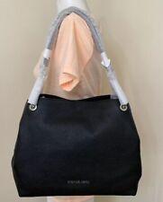 Michael Kors Jet Set Black Silver Pebble Leather Chain Shoulder Bag