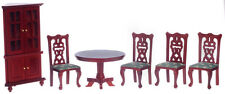 Dollhouse Furniture Town Square 6pc Dining Room Set Mahogany & Green #T0103