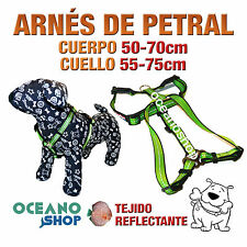ARNÉS PETRAL VERDE TEJIDO REFLECTANTE AJUSTABLE PERRO CUERPO 50-70cm L80 3375
