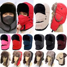 Women Men Winter Warm Fur Trapper Aviator Fitted Trooper Cap Russian Earflap Hat