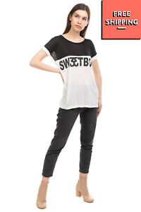 SWEET MATILDA T-Shirt Top Size XS Two Tone Printed 'Sweetboy' Made in Italy
