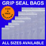100 Grip Seal Resealable SelfSeal Clear Plastic Bag ALL SIZES in Inches Cheaper!