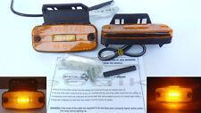 2x Amber 5LED Side Marker Light Lamps for Trailer Truck Lorry E9 12V/24V Bracket