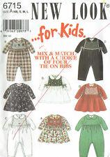 NEW LOOK 6715 ~ BABY DRESS & ROMPER w MIX & MATCH TIE ON BIBS - Sz NB,S,M,L