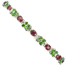 Sterling Silver 925 Genuine Natural Chrome Diopside & Ruby Floral Bracelet 7.5In