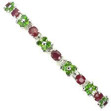 Sterling Silver 925 Genuine Natural Chrome Diopside & Ruby Floral Bracelet 7.5In