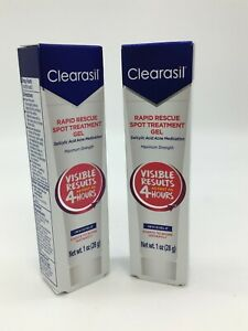 Lot of 2 CLEARASIL RAPID RESCUE SPOT TREATMENT CREAM 1 OZ. each Exp: 2/21