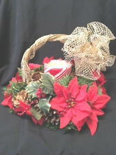 CHRISTMAS DECORATED WICKER BASKET GOLD PINE CONES PIONSETTIA BEADS CANDLE