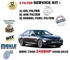 Para BMW 730D 245BHP 2993cc 2008-2015 3 Filtro de aire aceite combustible diesel Kit de servicio