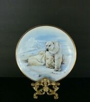 "Polar Bear Mother & Cubs 8"" D. Full Color Ceramic Collector's Plate, Herron, USA"