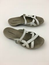 womens white leather 'Merrell' Jasmine slip on slide sandals size 8
