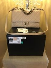 Authentic chanel 16A trapezio Top Handle Flap Bag beige With Brushed Gold HW