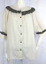 VTG 60s 70s Peasant Blouse Puff Sleeves Square Buttons Black Ivory Dot Lace VLV