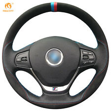 Mewant Black Suede Leather Steering Wheel Cover Wrap for BMW F30 316i 320i 328i