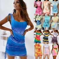 Women Tie Dye Ruched Mini Dress Summer Sexy Cocktail Party Bodycon Short Dresses