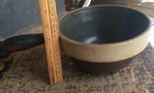 Vintage Two Tone Stone Ware Mixing Bowl /  Pot With Wood Handle