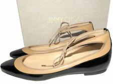 $650 Jimmy Choo Tyler Flats Black Patent Ankle-tie Ballet Shoes Ballerina 40