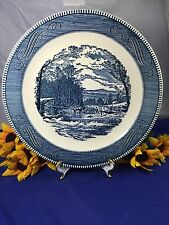 """Royal China CURRIER and IVES WOOD CUTTING Scene Chop Plate Platter 12 1/4"""""""