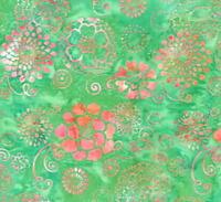 Hoffman Batik Bali Chop Graphic Floral K2477-29 Jade Cotton Batik Fabric BTY