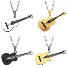 Cn _ Hombre de Mujer Rock Guitarra Colgante Collar de Acero Inoxidable Joyería