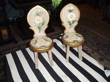 Vintage Hand Painted Flower Miniature Wood Chair Pair Of 2 Made In Philippines