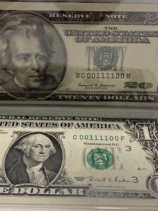 1999/1995 $20&1 BINARY RADAR Match Notes  Number 00111100 UNC 99.57% Super Rare!