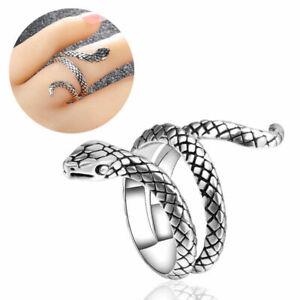 Ring Schlange Silber Snake Biker Gothic Herren Damen Größenverstellbar