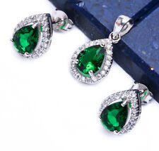2.50ct Pear Cut Emerald & CZ .925 Sterling Silver Earring & Pendant Jewelry set