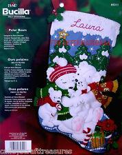 "Bucilla Polar Bear ~ 18"" Felt Christmas Stocking Kit #85311 Baby Bears Family"