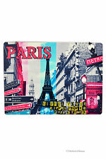 "10"" Paris Colorful Street Scene Eiffel Tower Metal Wall Sign Plaque Decor"