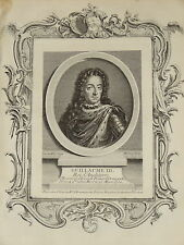 Portrait Gravure XVIII ROI WILLIAM III KING ENGLAND ORANGE NASSAU LOUIS XIV 1750