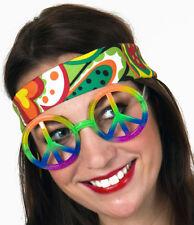 regenbogenfarbene Peace Brille Hippie 70er Jahre Accessoires
