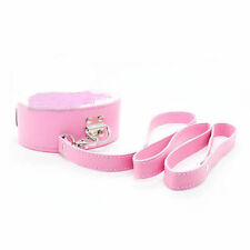 Quality PU Leather Soft Furry Neck Collar Choker Neckcollar Leash Pink