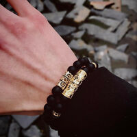 2018 Mens Matte Agate Gold Plated Fleur De Lis Beaded Bracelet Fashion Jewelry