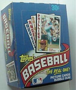 1984 TOPPS BASEBALL CARDS DISPLAY BOX (STEVE CARLTON TOP, SCHMIDT, JACKSON, RICE