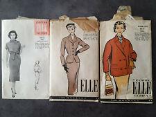 3 Patrons mode anciens Elle tailleur veste robe - 3